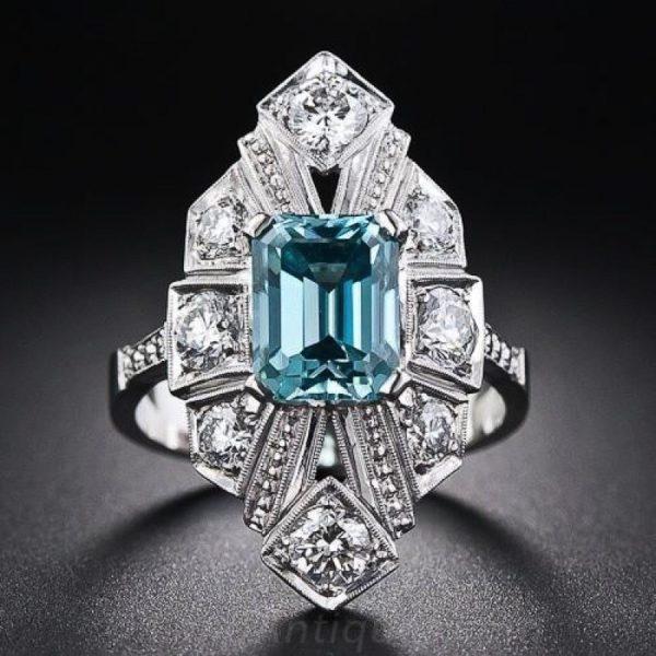 Vintage Art Deco zircon + platinum ring