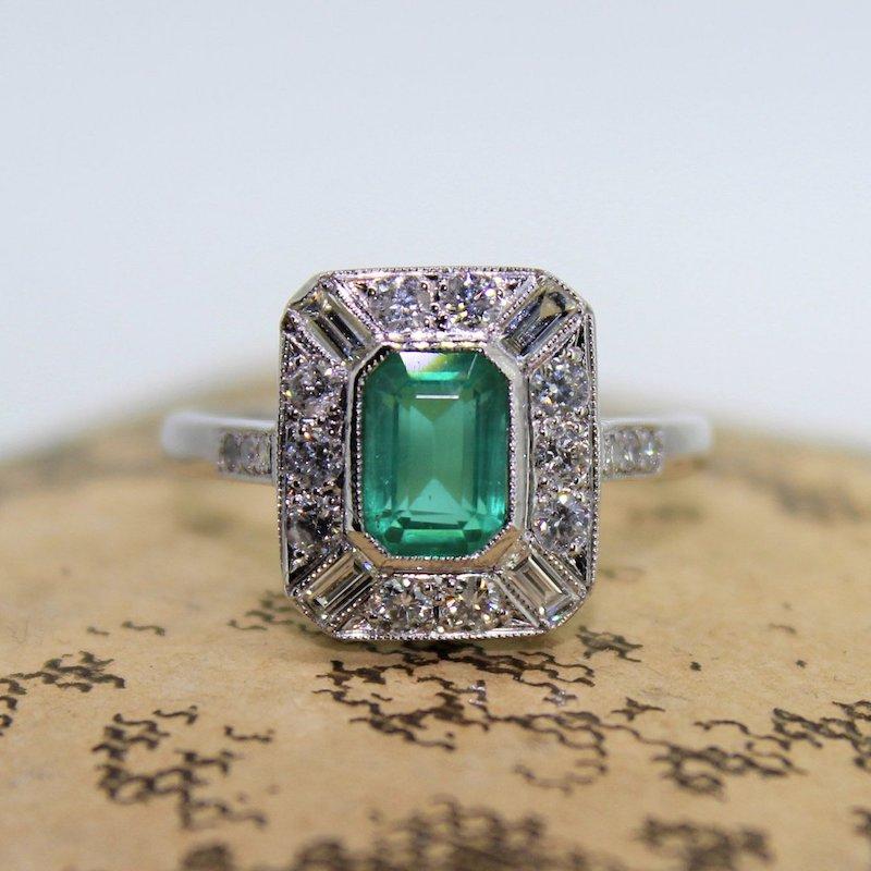 Antique Art Deco Emerald Halo Engagement Ring