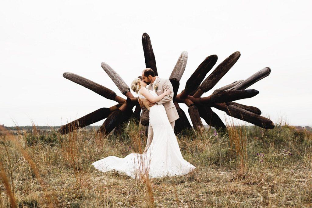 Ceremony Kiss | Rustic Autumn Texas Ranch Wedding