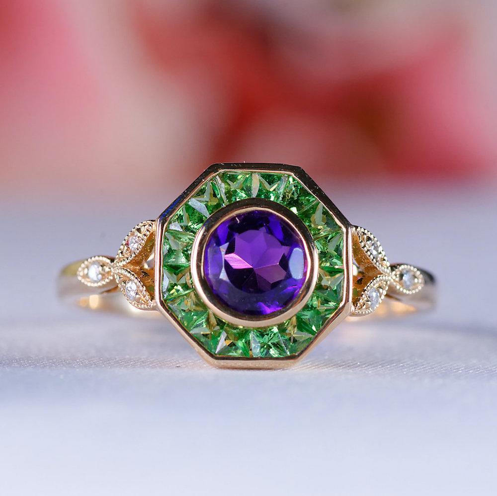 Green Garnet + Amethyst Art Deco Ring