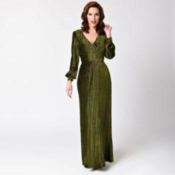 Green Velvet Long Sleeve Art Deco Gown