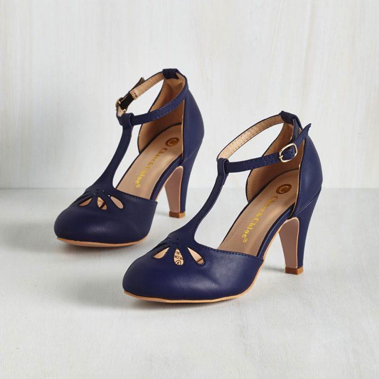 f2214db4ab6d Navy Blue Vintage Style Flapper Heels