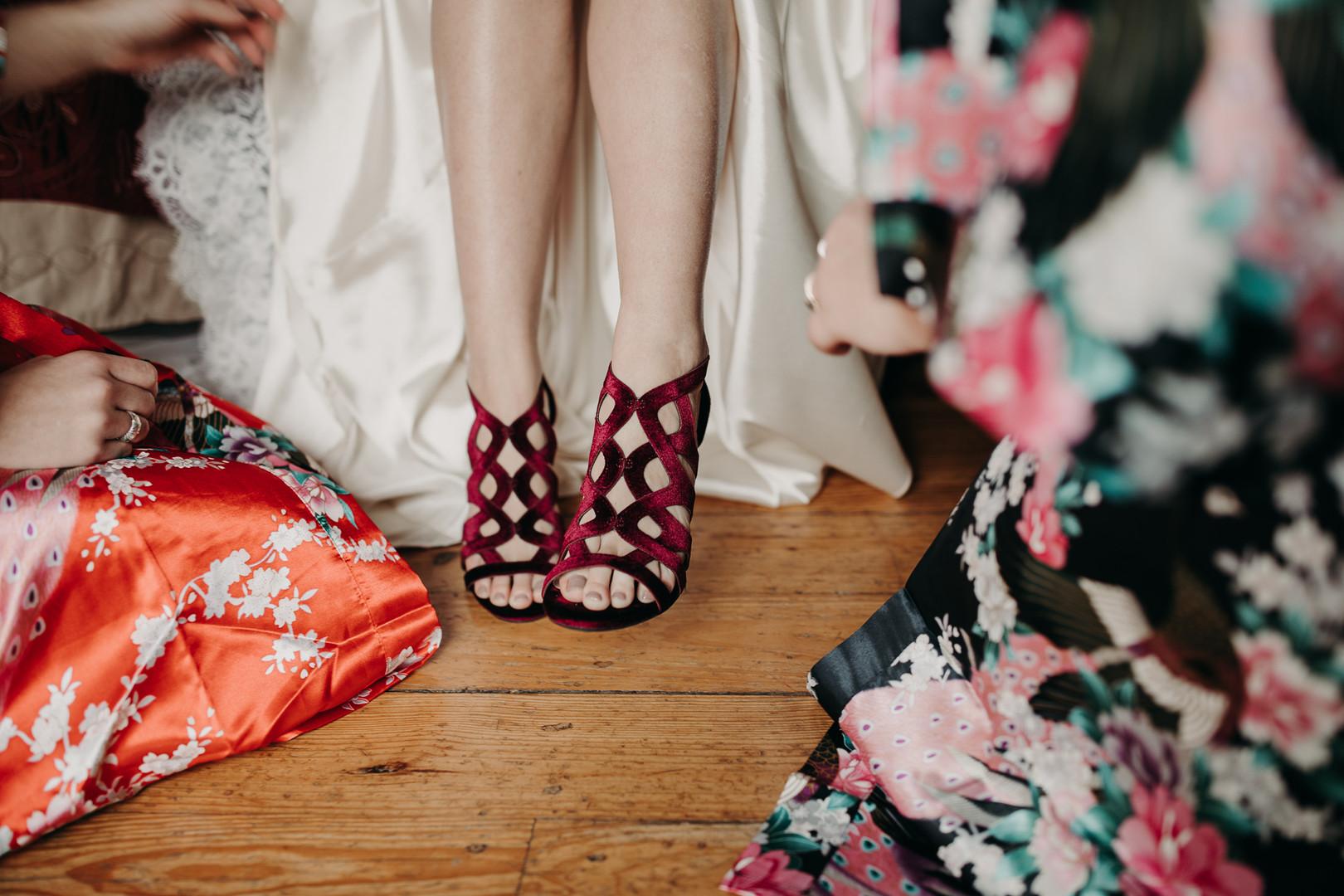 Red Velvet Bridal Shoes